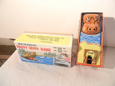 1960's Yone Happy Hippo Tin Litho Wind Up Bank Mint In Box