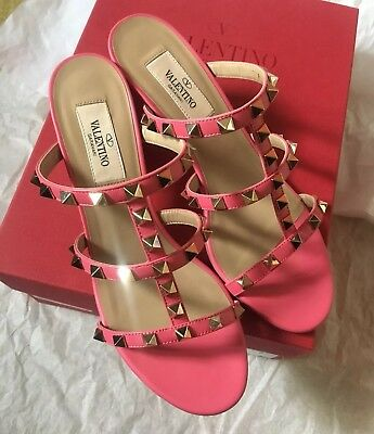 6e60787a5716 NIB Auth Valentino Rockstud Caged 60mm Heel Slide Sandals Shoes Shadow Pink  37