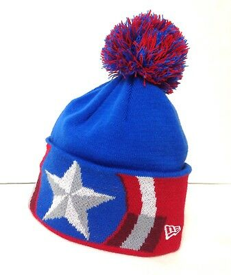 6f7c290b336 New Era CAPTAIN AMERICA POM BEANIE Big Cuff Red Blue Men Women Winter Knit  Hat