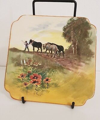 Royal Doulton ploughing scene with poppies tea plate