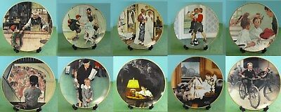 NORMAN ROCKWELL - COMING OF AGE - Complete Classic Art Plates Kids Vintage China