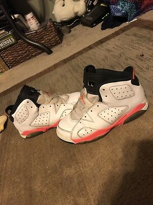 23c16e2e135 Nike Air Jordan 6 Retro Infrared White/Red 384666-123 Size 3Y Basketball  Shoes