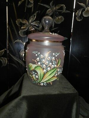Beautiful pink glass hand enameled Victorian container