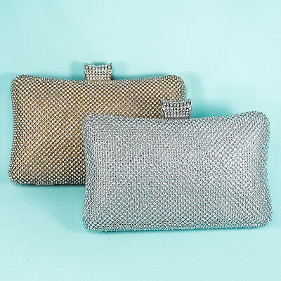 Solid Crystal Rhinestone Evening Bag Clutch Purse in Silver and Gold - P106SL