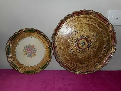 Two antique Florentine hand painted trays