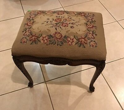 Vintage French Carved Walnut Stool with Needlepoint Upololstry