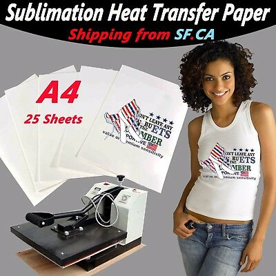 "A4,8.5"" x 11.5"",Heat Transfer Sublimation Paper for White&Light Color,25 sheets"