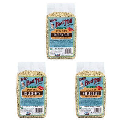 3X Bob's Red Mill Organic Extra Thick Rolled Oat Body Care Health Food Grocerie