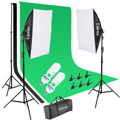 Kshioe Professional Photo Photography Softbox Kit 3x Muslin Cloth Background Set