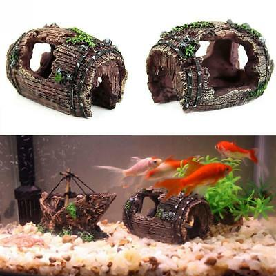 Aquarium Fish Tank Barrel Resin Ornament Cave Furnishing Landscaping Decoration