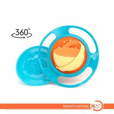 Feeding Bowl Dish 360 degree Spill-Proof Food Gyro Rotate lid Baby Kid Children
