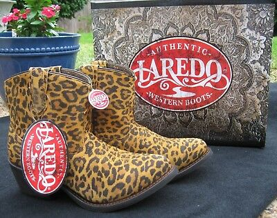a1e2f7fc5d4718 NEW Ladies Laredo Kitty Leather Leopard Print Western Cowboy Ankle Boots  51037