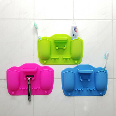 2Hole Silicone Mighty Toothbrush Razor Holder Organizer Home Bathroom Decor