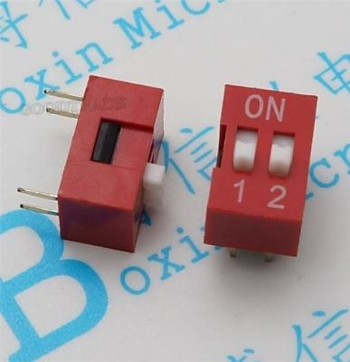 20Pcs 2P 2 Position Dip Switch Side Style 2.54MM Pitch Through Hole US Stock c
