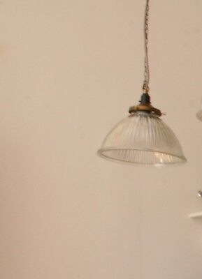 vintage glass light shade with brass gallery