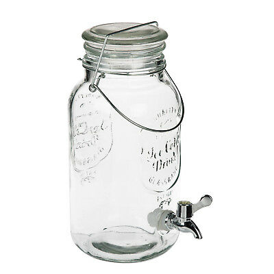 4L Dispenser Drink Water Cocktail Tap Handled Juice Punch Party Glass Mugs Jar