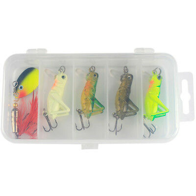 5pcs Sea Fishing Tackle Flying Fishing Lures Grasshopper Lure Sequins Bait