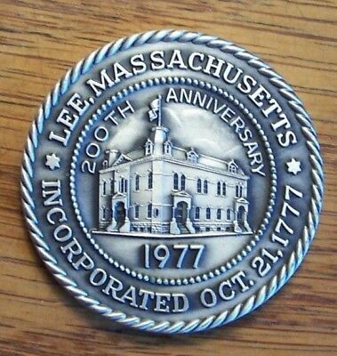 TOWN MEDAL #191  LEE MA MASSACHUSETTS  1977  STERLING  200th  ANNIVERSARY
