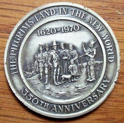 Plymouth MA Town Medal 1970 Sterling 350th Landing PILGRIMS MAYFLOWER