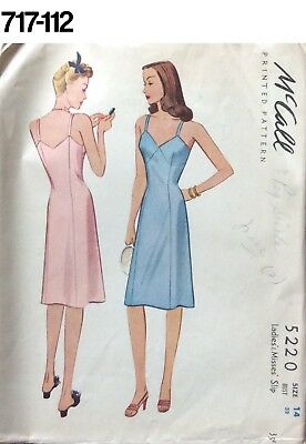 a52dabfe6127c VTG SEWING PATTERN McCall #5220 Size 14 Bust 32 Full Slip 1940s 1943  Lingerie