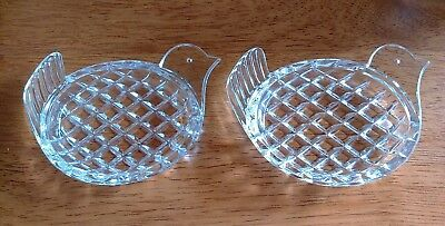 2 lovely Small Glass Bird Dishes