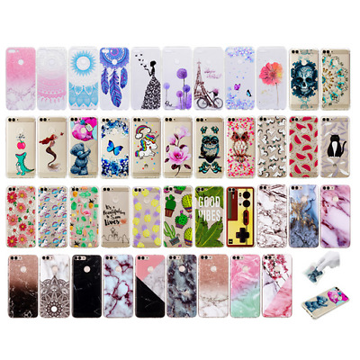 For Huawei P smart Phone Case Cute Patterns Soft TPU Protective Marble Cover
