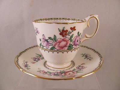 Antique Demitasse Cup & Saucer Crown Staffordshire Floral F15407 England