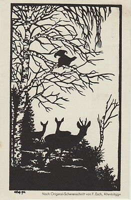 SILHOUETTE Forest Trees Plants DEER Bird FANTASY German NATURE PC c1920s