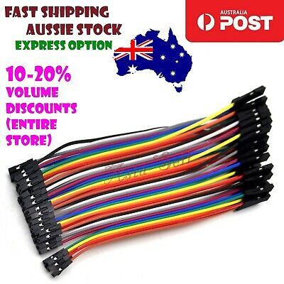 40pcs 10cm 2.54mm Single 1 pin Female Female Jumper Wire Dupont Cable Cables F-F