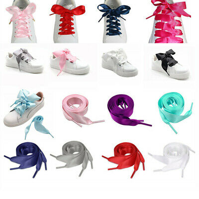 Flat Shoelaces Ribbon Satin Shoe Laces Strings Kids Youths Sneakers Trainers DIY