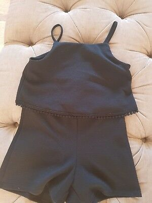 Girls river island black playsuit age 9-10 years