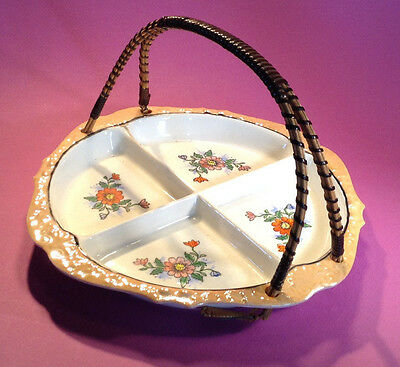 Hand Painted Divided Dish With Rattan Handle Circa 1926-1949 Moriyama Japan