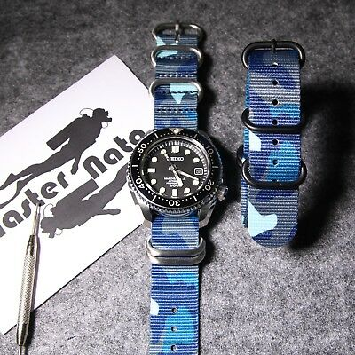 Sky Blue Camouflage Military ZULU Nylon Watch Nato Strap G10 PVD 5Ring Buckles