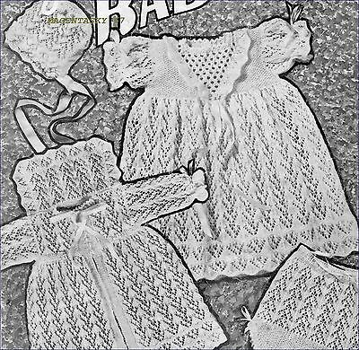 Vintage Baby Knitting Pattern copy in 4 Ply Complete Layette