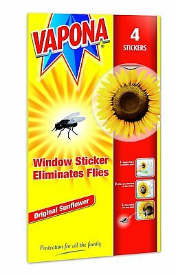Vapona Window Sunflower Fly Killer Stickers Pack of 4 -Available in Various Pack