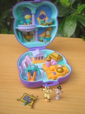 POLLY POCKET mini DISNEY Aladin Aladdin Dose BLUEBIRD 1995 + 2 Figuren & Zubehör