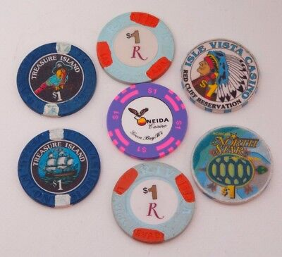 Lot of 7 $1 Casino Chips Treasure Island Isle Vista North Star Oneida