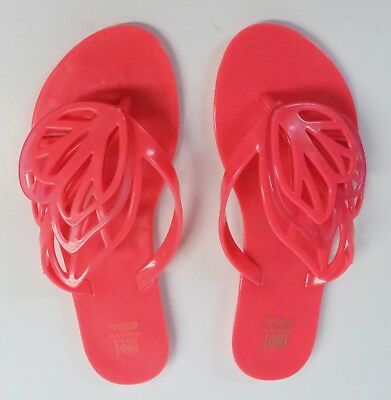 MEL dreamed by MELISSA SIZE 3 CORAL JELLY SANDALS BUTTERFLY WINGS FLIP FLOPS NEW