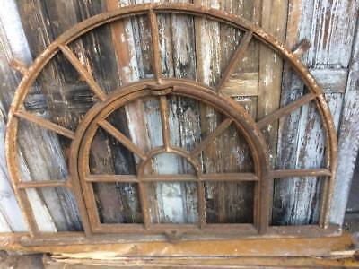 Huge Vintage Cast Iron Semi-circular Industrial Metal Window Frame 8 available