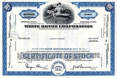 The White Motor Corporation 1960's-1970's Type 1 Stock Certificate - blue