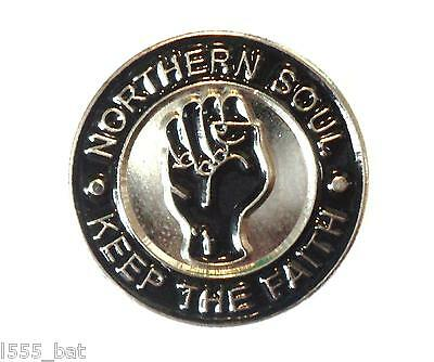 Northern Soul Keep The Faith Black Fist Music MOD Metal Enamel Scooterist Badge