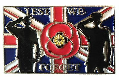 NEW Lest We Forget Great Britain Flag Soldiers Armistice Remembrance Day Badge
