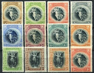 Barbados 1920 Peace issue, SG 201 - 212, Mint Hinged, CV £150