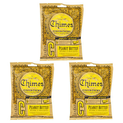 3X New Chimes Ginger Chews Peanut Butter Snacks Candy Gluten Free Energy Refil