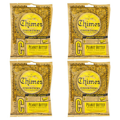 4X New Chimes Ginger Chews Peanut Butter Snacks Candy Gluten Free Energy Refil