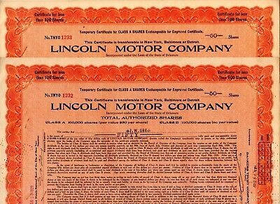 Lincoln Motor Company 1920 Stock Certificate - Special Low Price $4.99