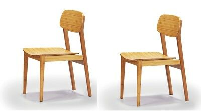 Pair of Greenington Currant dining chairs, 100% Moso bamboo, caramelized