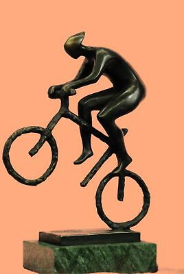 Vintage Bicycle SCULPTURE Cyclist Bike Racer Metal Bronze Statue Art Hotcast BW