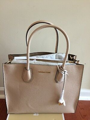 db69c1d38078 NWT MICHAEL KORS Mercer Large Convertible Bonded Leather Tote Oyster ...