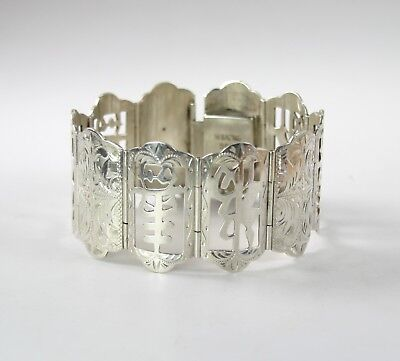 Vintage Chinese 950 Silver Character Panel Bracelet